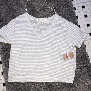 Rachel Roy cotton V neck crop top